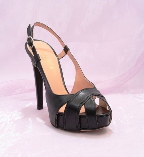 Black Leather Stiletto Heel Platform Sandals