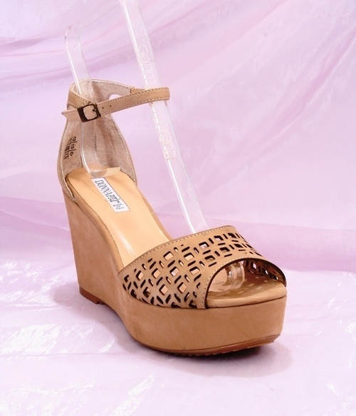 Beige Leather Ankle Strap Platform Sandals