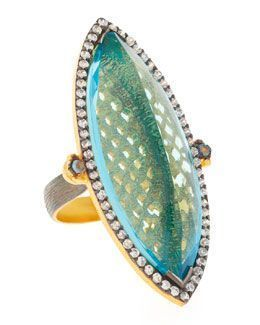 Rhod Blue Quartz Ring
