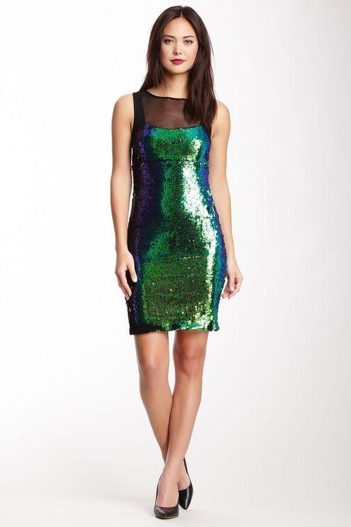 Scale Sequin Mesh Dress