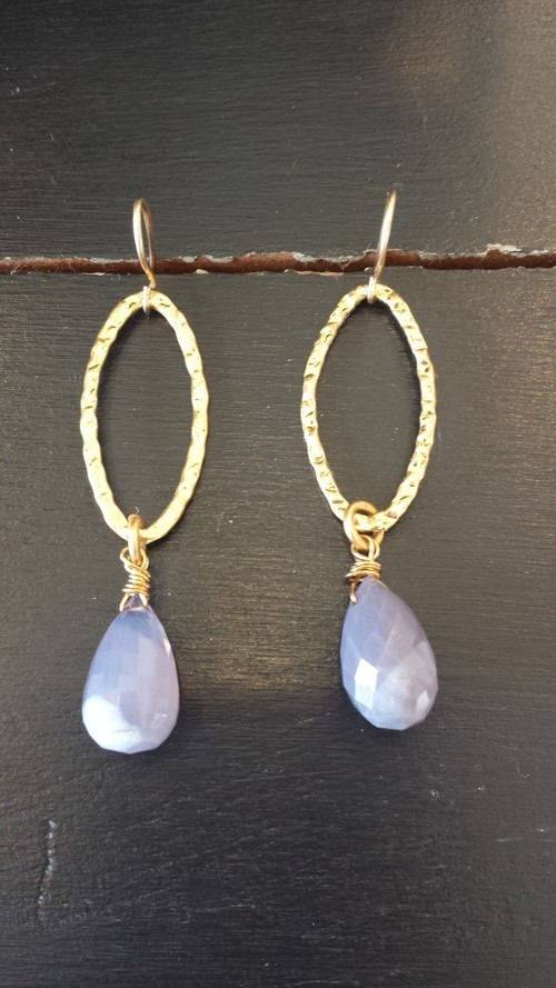 Gold Violet Drop Crystal Earring