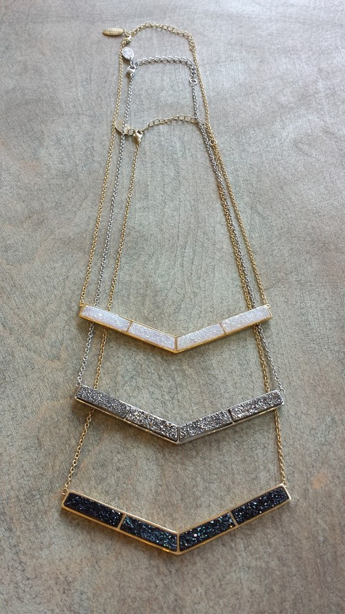 18K Plated BIb Necklace Rectangle Shape