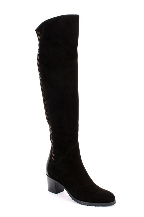 Black Over-the-Knee Suede / Shearling Boots