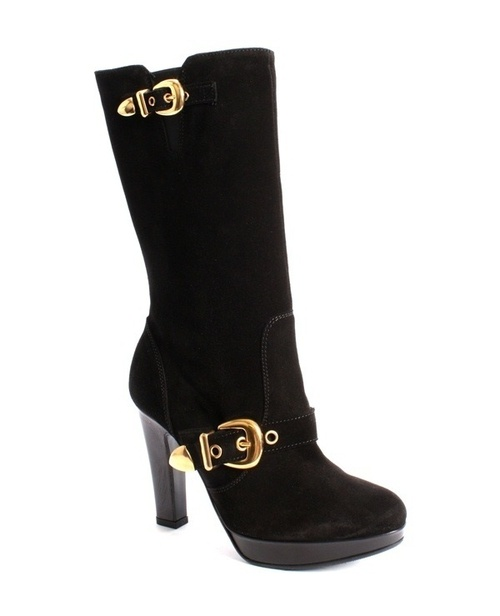 Black Suede High Heel Mid-Calf Boots