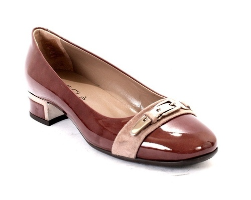 Taupe Patent Leather Low Heel Buckle Pumps