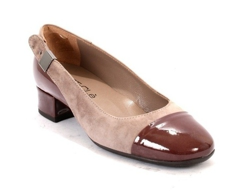 Taupe Patent Leather / Suede Low Heel Pumps