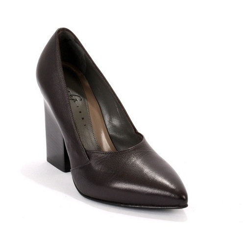 Eggplant Leather Geometric Heel Pointy Toe Pumps