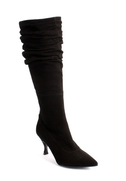 Black Suede Slouchy Pointy Boots
