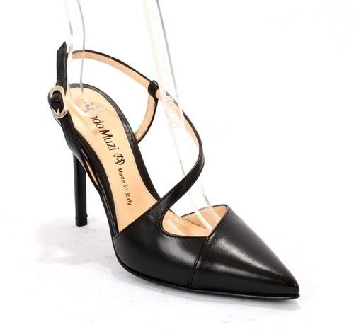 Black Leather Stiletto Heels Slingback Sandals