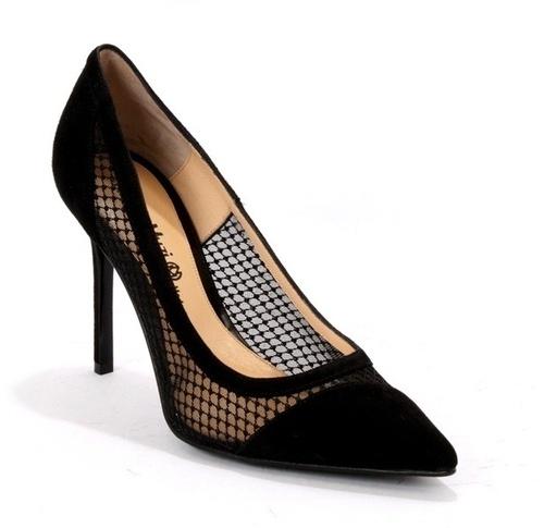 Black Mesh / Suede Pointy Toe Stiletto Heels Pumps