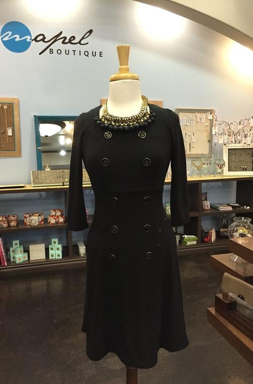 Black Double Button Dress