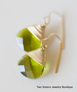 Gold Green Swarovski Earrings