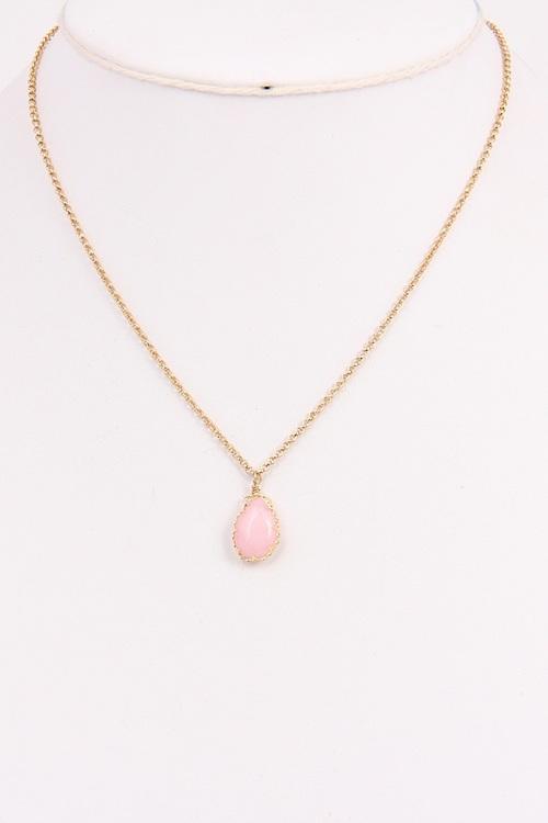 Short Gemstone Pink Necklace