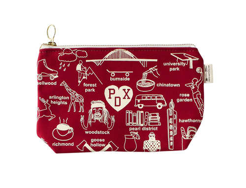 Portland Red Zip Pouch