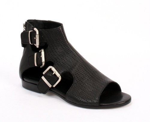 6d21e664a27 Black Leather Peep Toe Ankle Booties Sandals