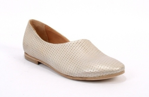 Ice Pearl Pressed Leather Summer Flats