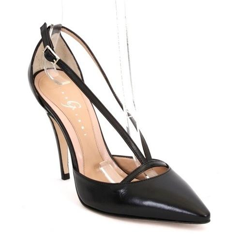 Black Leather Strappy Pointy Stiletto Pumps