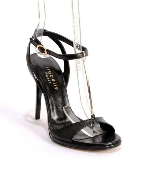 Black Leather Gold-Tone Metal T-Strap Stiletto Sandal
