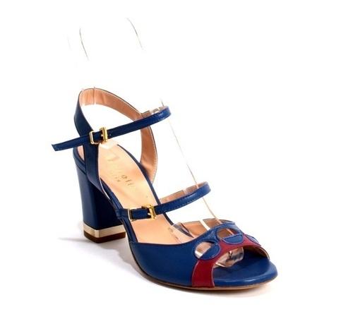 e5da1553b38 Dark Blue   Cherry Leather Chunky Heel Sandals By Isabelle