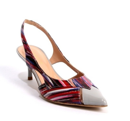 Multi-Color Patent Leather Slingback Pointy Pumps