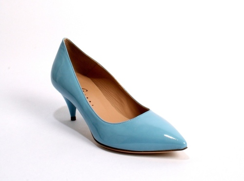 Sky Blue Patent Leather Pointy-Toe Royal Shoes