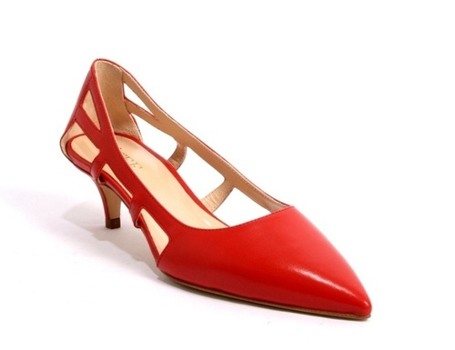 Red / Side Cutouts / Pointy-Toe Leather Pumps