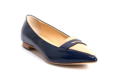 Deep Blue / Beige Patent Leather Pointy Block Heel Pump
