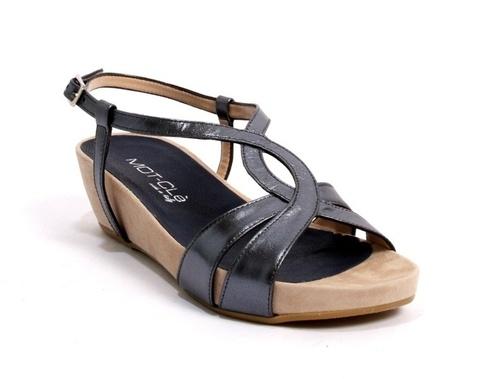 Dark Graphite Laminated Leather Twirl T-Strap Sandals