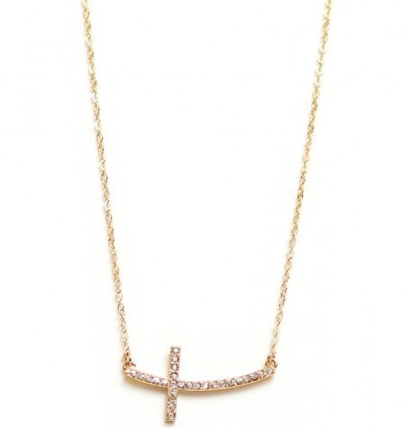 Pave Gold Curve Cross Pendant
