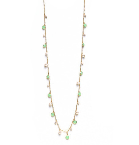 Aqua & Pave Ball Long Necklace