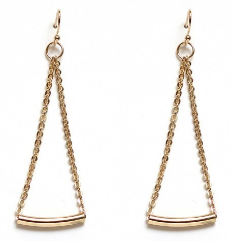 Gold Curved Tube Chain Earring
