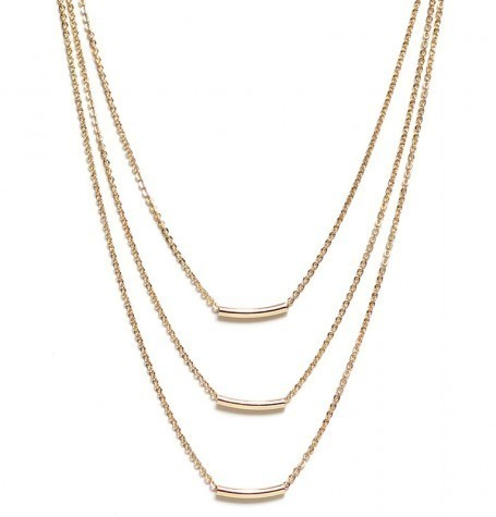 Triple Gold Curved Tube Neckl