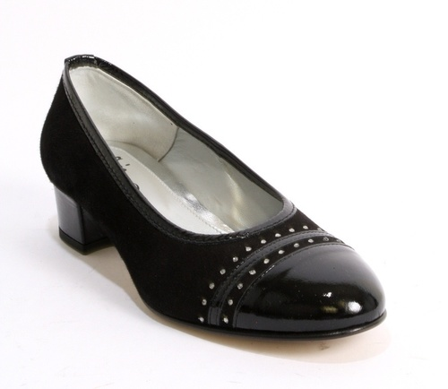 Black Suede Patent Leather Rounded Toe Block Heel Pump