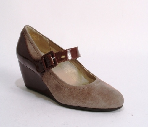 Gray Suede / Taupe Patent Leather Rounded Wedge Pump