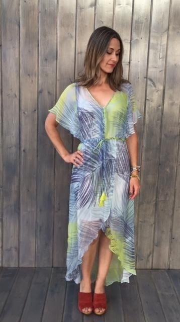 Lime Grey Flutter Hi-Lo Dress