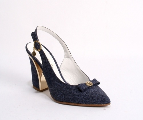 Navy Suede / Navy Bow Pointy Slingback Heel Sandal