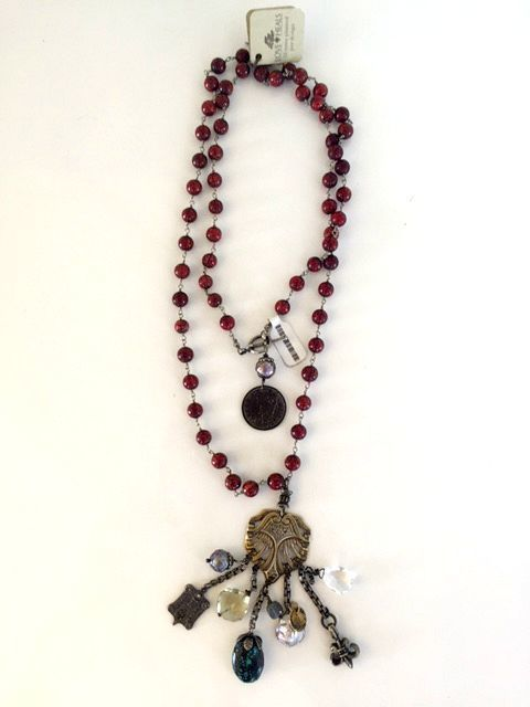 Long Antique Red Coral Beads with Silver Charm Holder