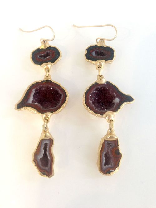 Tripe Geode Earrings