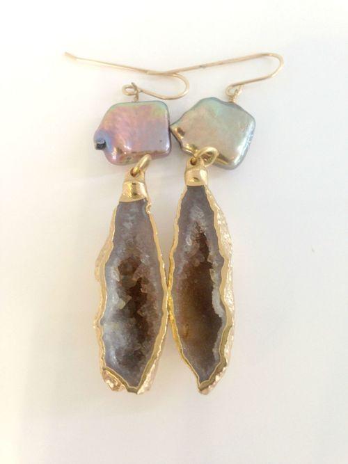 Geode With Pearl Earrings