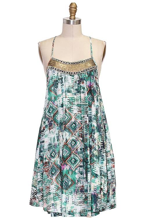 Sequin Applique Trapeze Dress