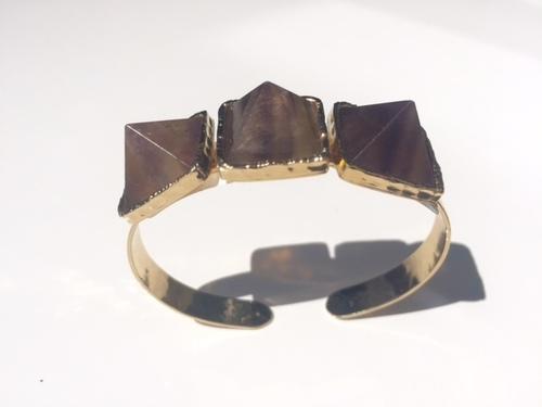 Gold Cuff with Pyramid Quartz Stones