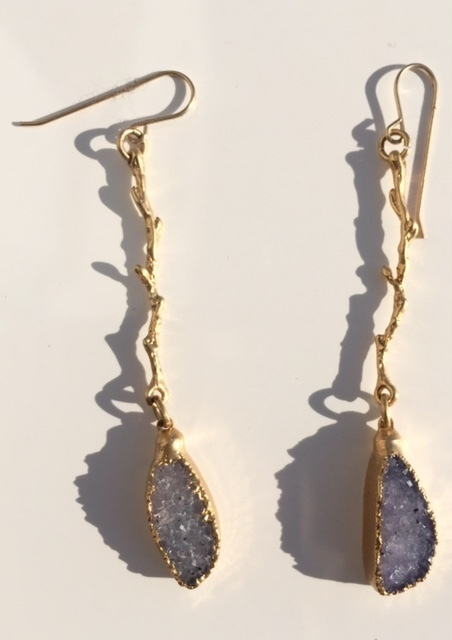 Long Twig 24k Gold Plate With Drusy Drop Earrings