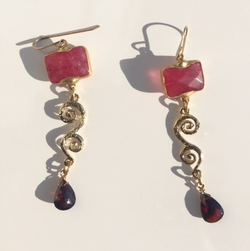 Red Ruby Drop Earrings