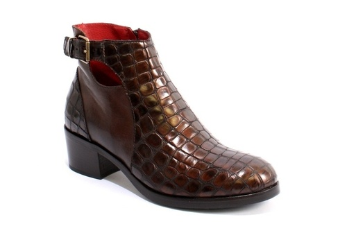 Brown Leather Crocodile-Print Zip-Up  Boots