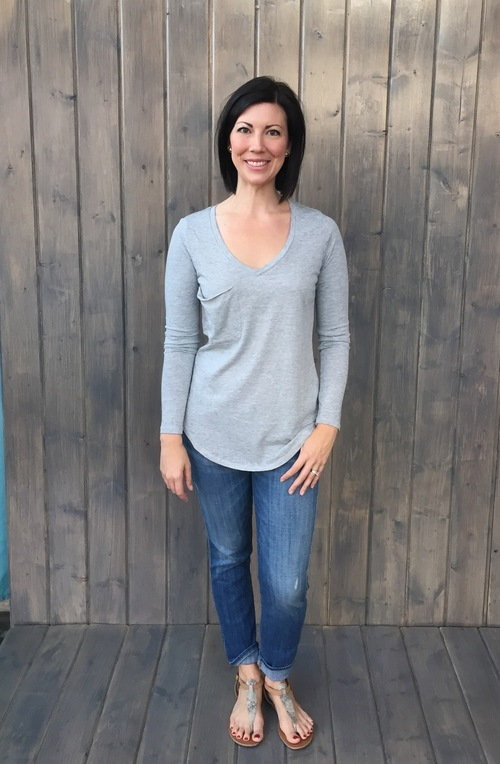 Pocket Long Sleeve Heather Gre