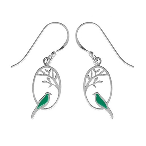 Green Resin Bird Earrings