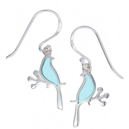 Blue Resin Bird Earrings