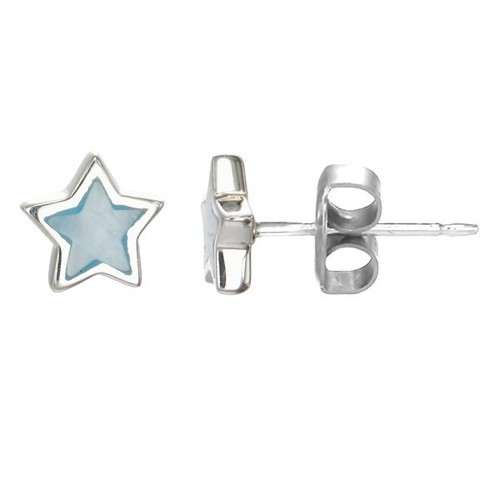 Blue Mother of Pearl Star Earrings