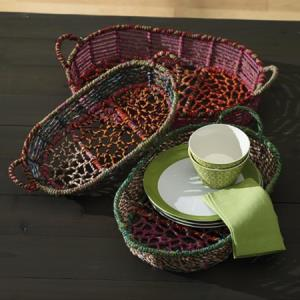 Color Jute Oblong Basket With Handle Small