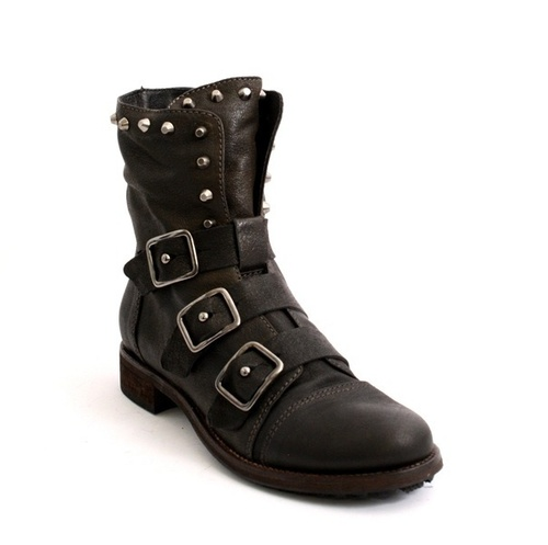 Brown Leather Side Zip-Up / 3 Buckles Studded Boots